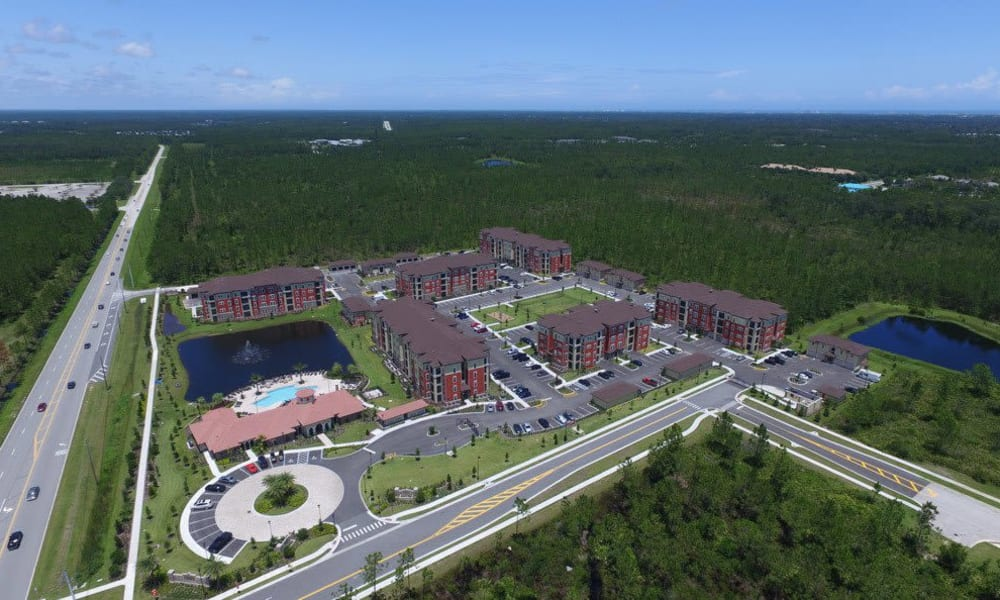 Aerial view of apartments at Sands Parc in Daytona Beach, Florida