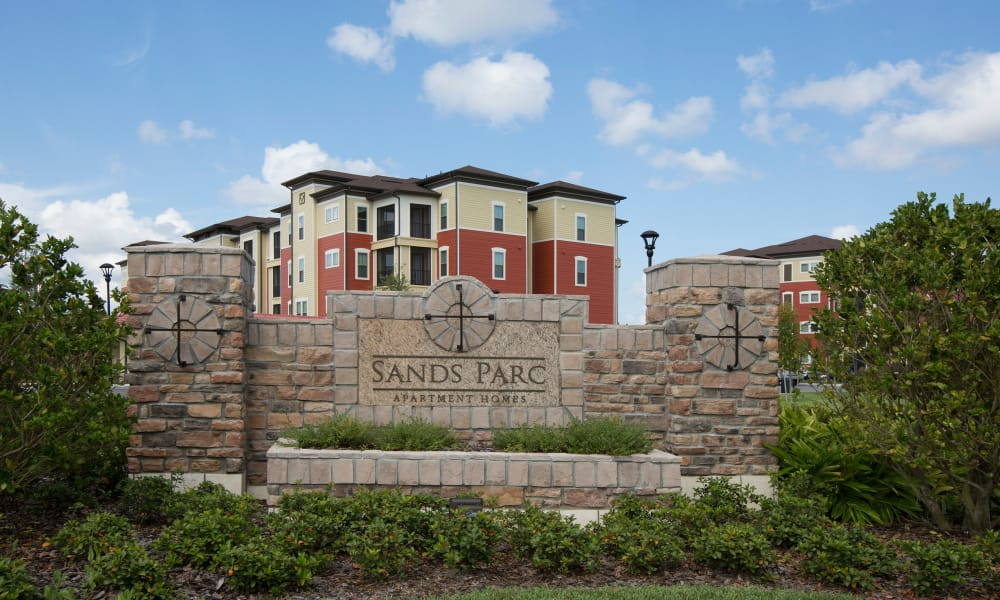 Entrance monument at Sands Parc in Daytona Beach, Florida