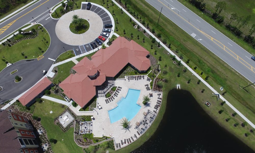 Aerial view of clubhouse at Sands Parc in Daytona Beach, Florida