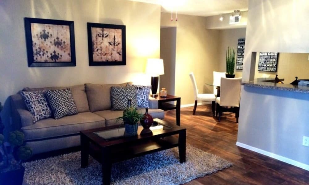 Model apartment living room at Montoro Apartments