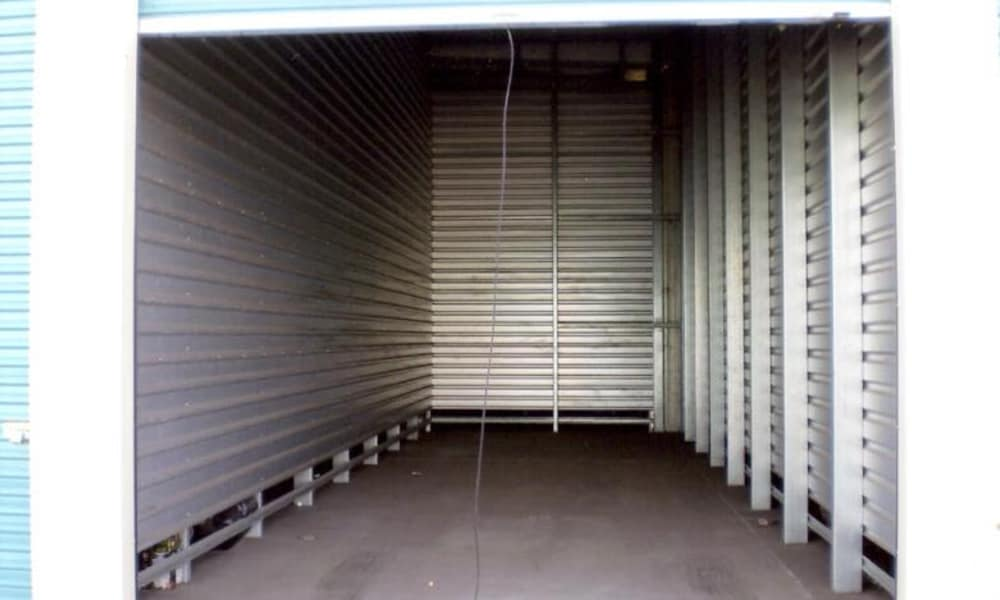 Interior view of storage unit at Terminous RV & Boat Storage in Lodi, California