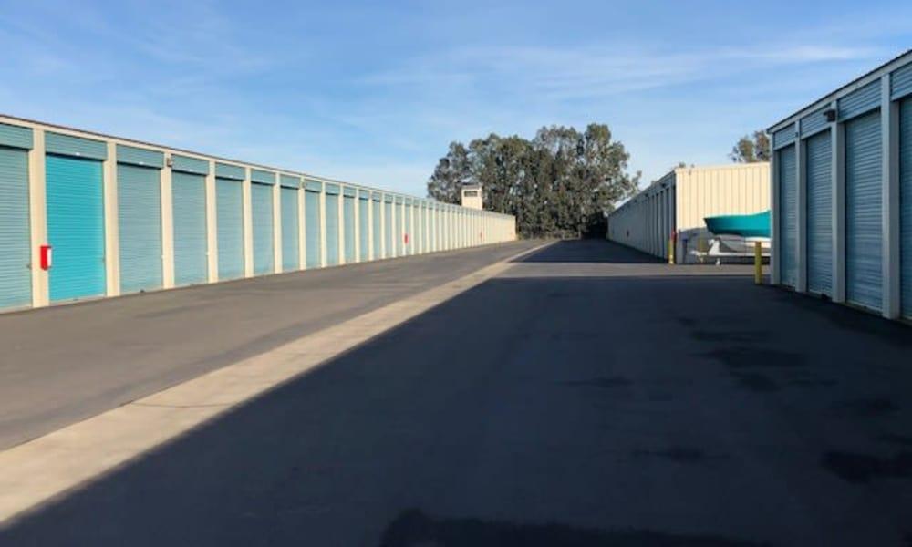 Self storage units street at Terminous RV & Boat Storage in Lodi, California