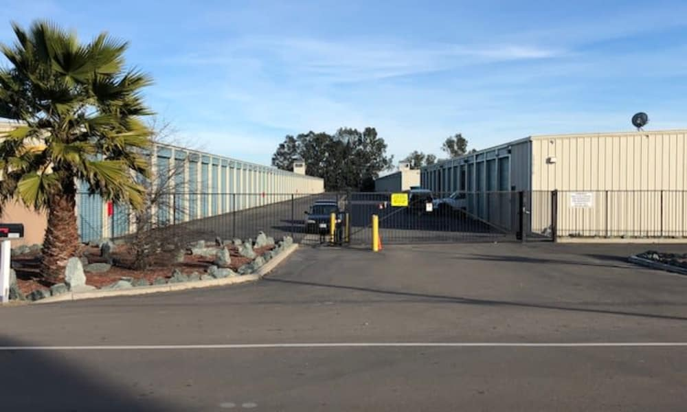 Fenced entrance at Terminous RV & Boat Storage in Lodi, California