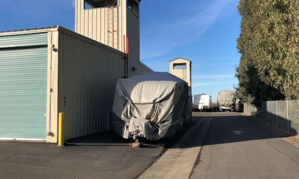 RV Stored outdoors at Terminous RV & Boat Storage in Lodi, California