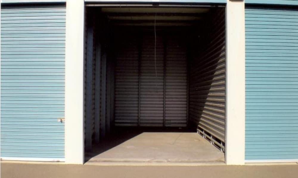 Open storage unit at Terminous RV & Boat Storage in Lodi, California