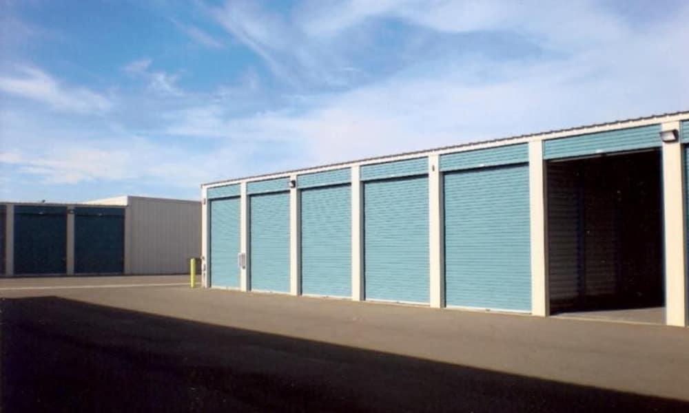 Row of storage units at Terminous RV & Boat Storage in Lodi, California