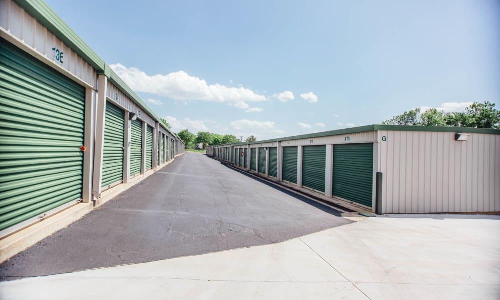 Wide driveway through The Attic Self Storage in Concord