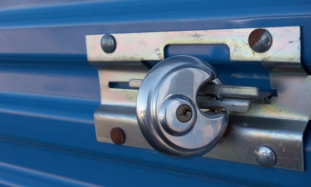 Storage unit view with padlock of Armadillo Self Storage South in High Point