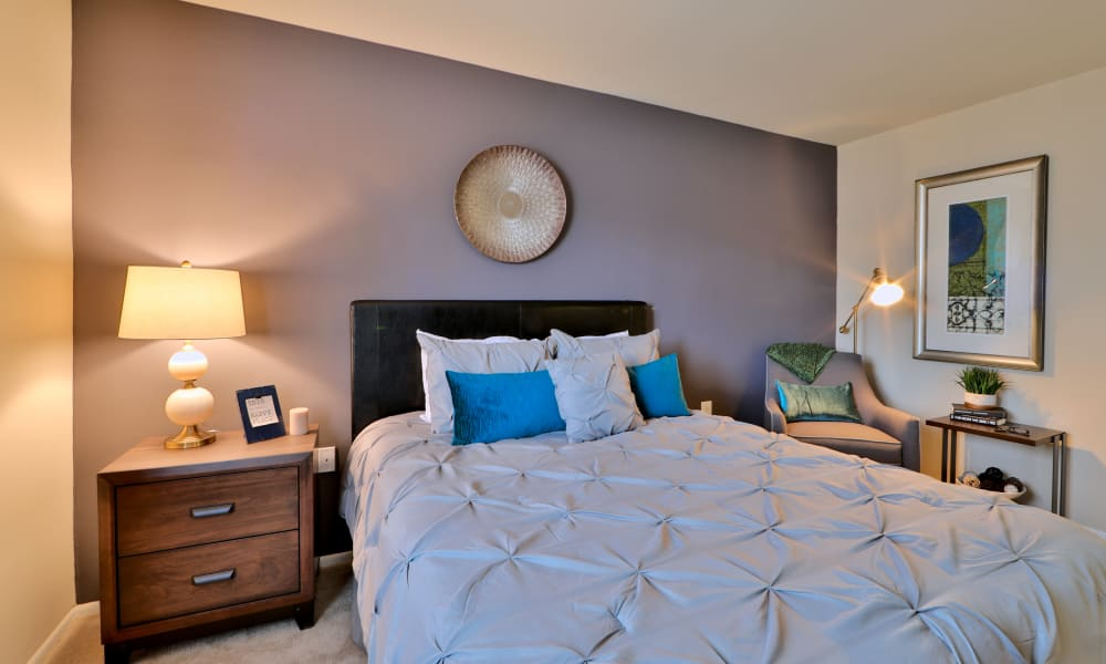 Cozy bedroom at Taylor Park Apartment Homes in Nottingham, MD