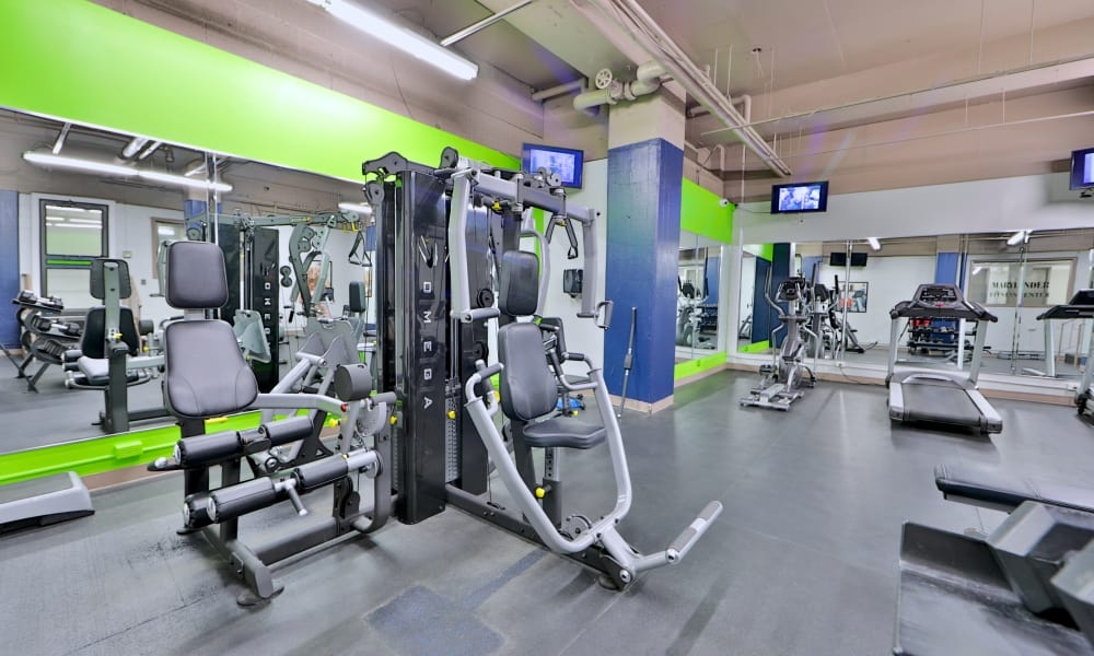 Modern fitness center at The Marylander Apartment Homes