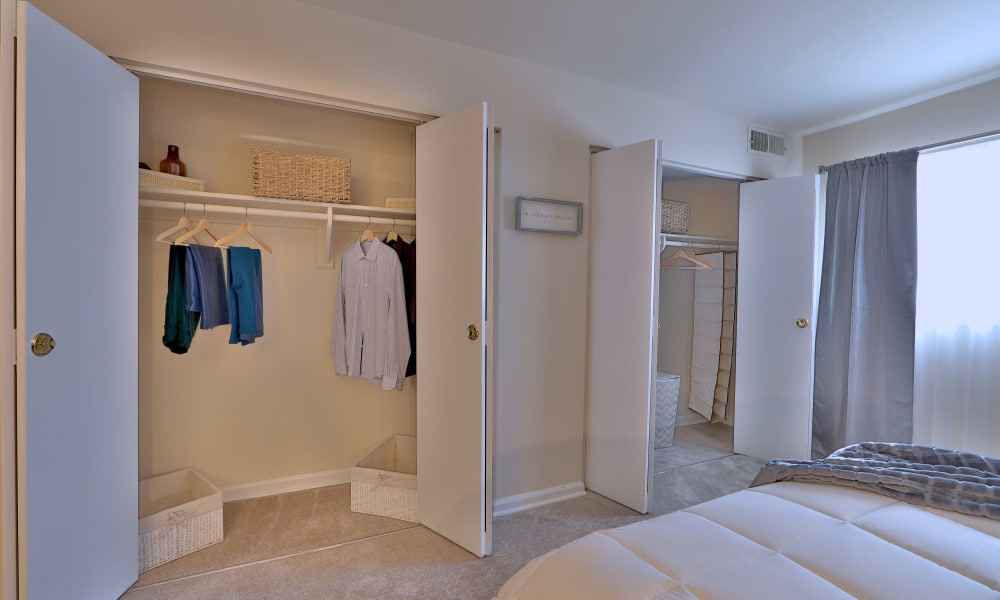 Closet in bedroom at Princeton Estates Apartment Homes
