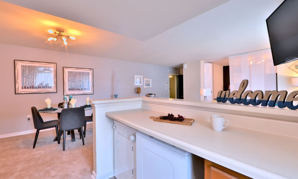 Kitchen and dining room at Princeton Estates Apartment Homes