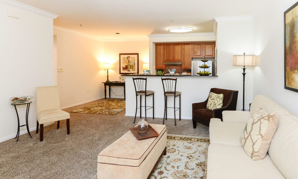 Spacious living room at Bishop's View Apartments & Townhomes