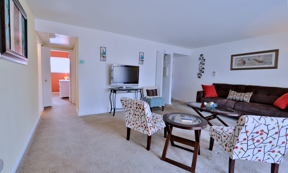 Spacious living room at Gwynn Oaks Landing Apartments & Townhomes