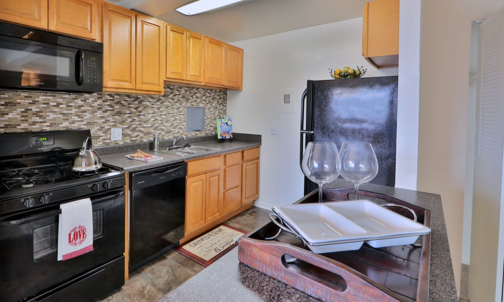 Luxury kitchen at Kings Park Plaza Apartment Homes in Hyattsville, Maryland