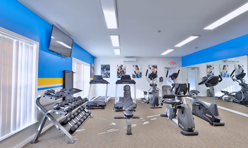 Stay healhty in the Willow Lake Apartment Homes fitness center in Laurel