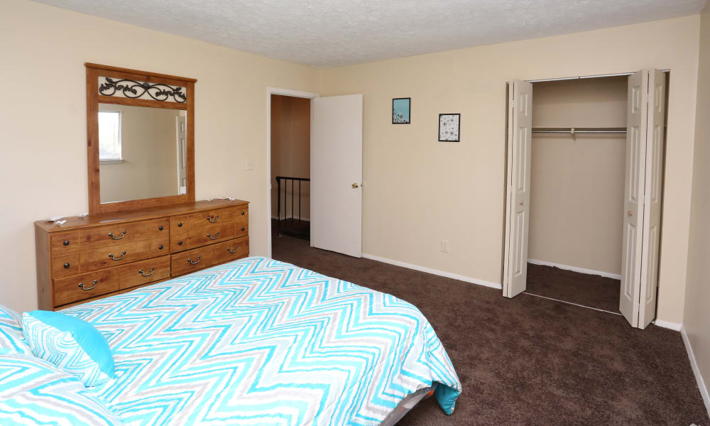 Victoria Gardens Apartments offers a bedroom with closet in Louisville, Kentucky