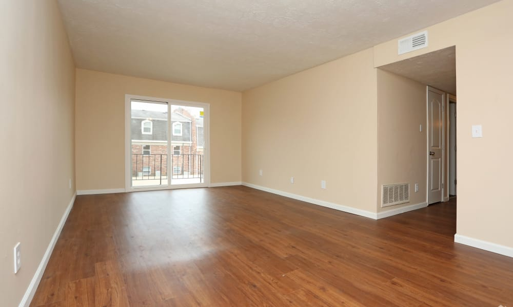 Empty living room at King Henry Apartments in Lexington, Kentucky