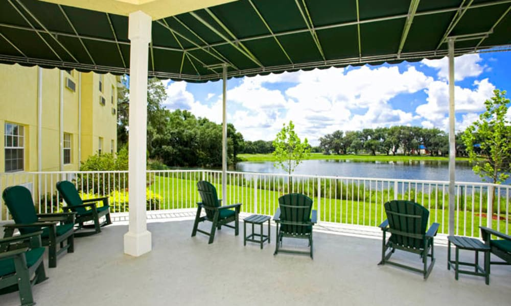 Enjoy a cafe in our patio at Arbor Oaks at Lakeland Hills in Lakeland, FL