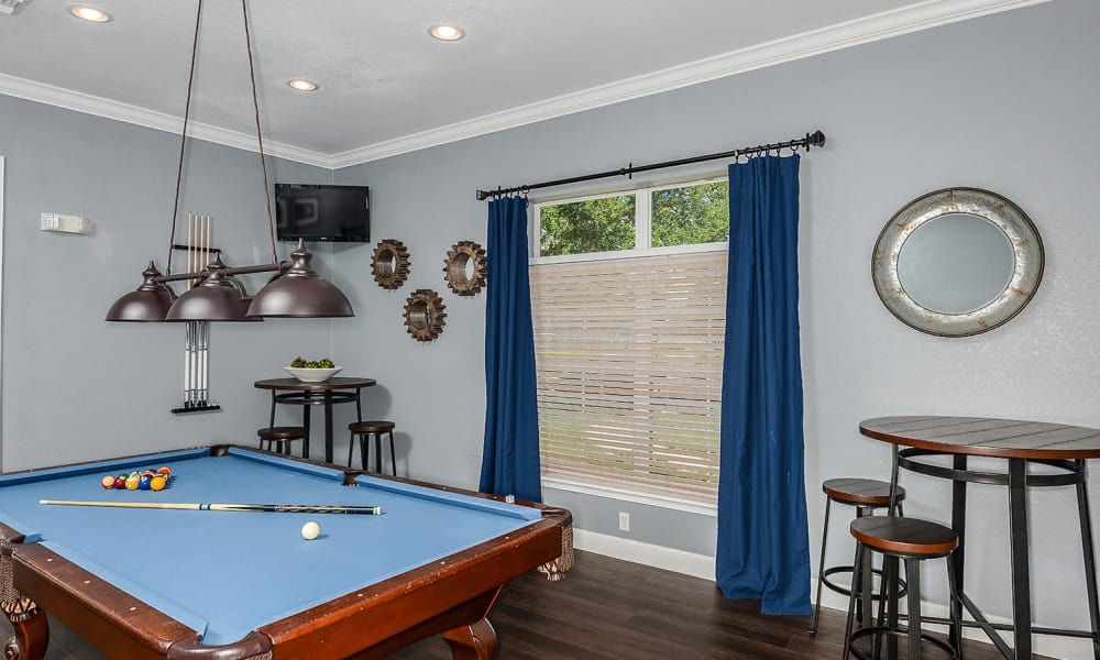 Pool table in the clubhouse at Audubon Oaks in Lakeland, Florida