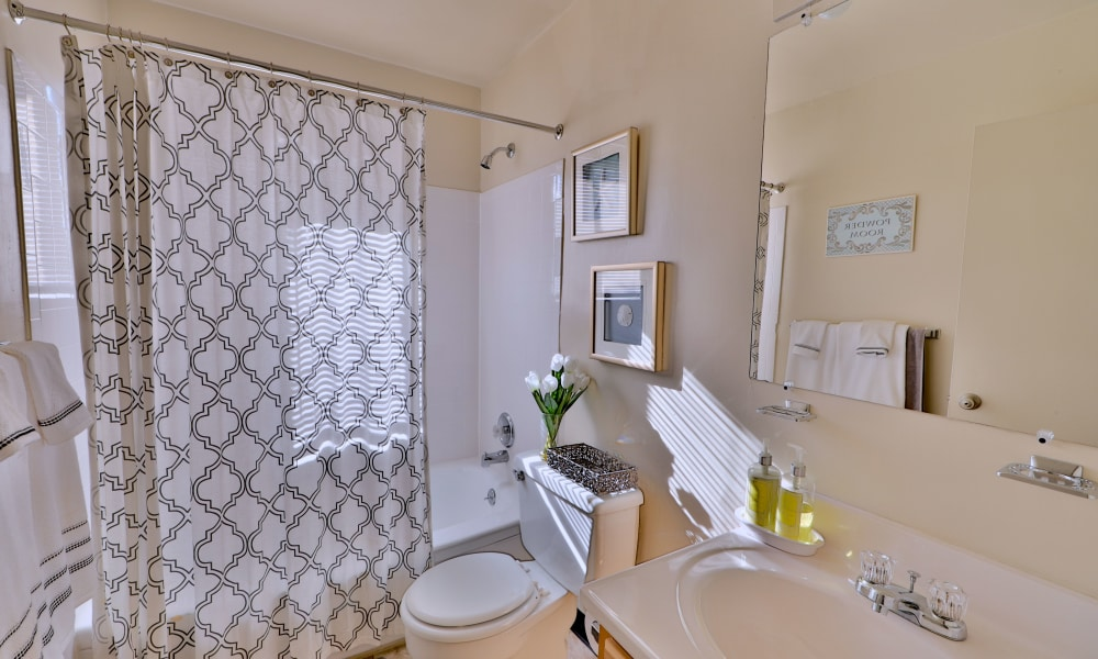 Cozy bathroom at apartments in Dundalk, Maryland