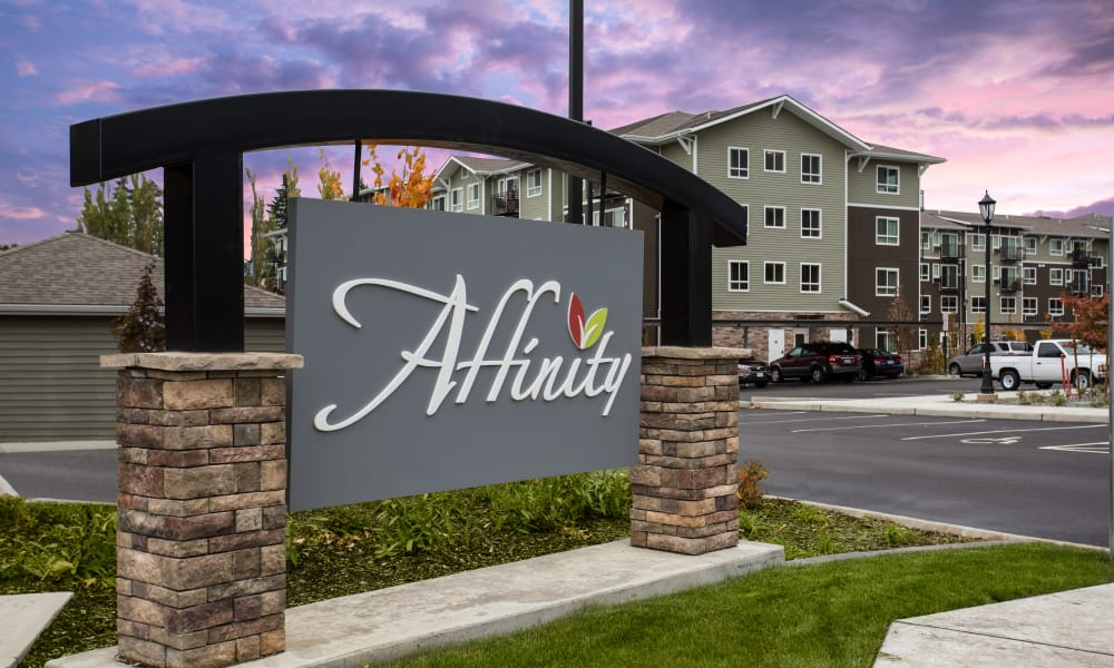 Font entrance at one of the man Affinity Living Communities