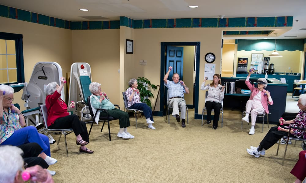 One of the many group-wellness activities on offer at Azalea Estates of Fayetteville