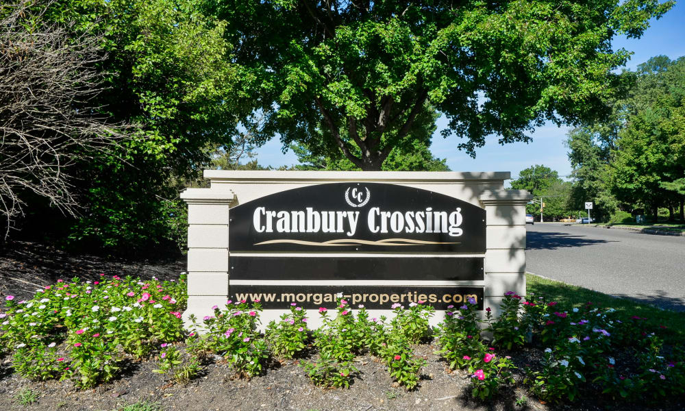 Sign for apartments at Cranbury Crossing Apartment Homes