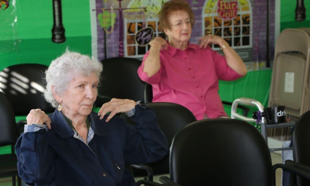 Aerobic class at Azalea Estates of Gonzales in Gonzales, LA