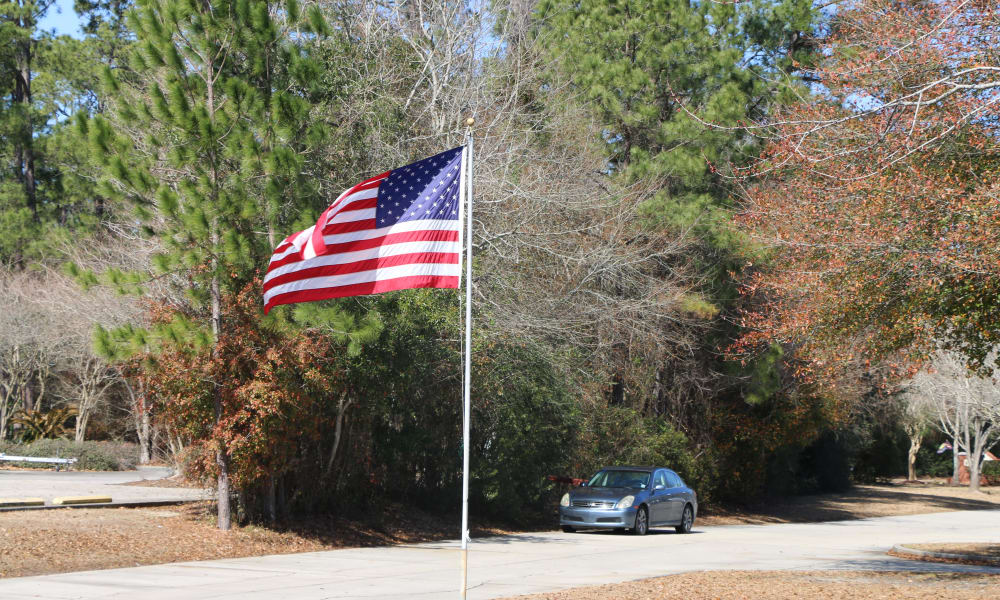 American flag displayed outside at Azalea Estates of Slidell in Slidell, Louisiana