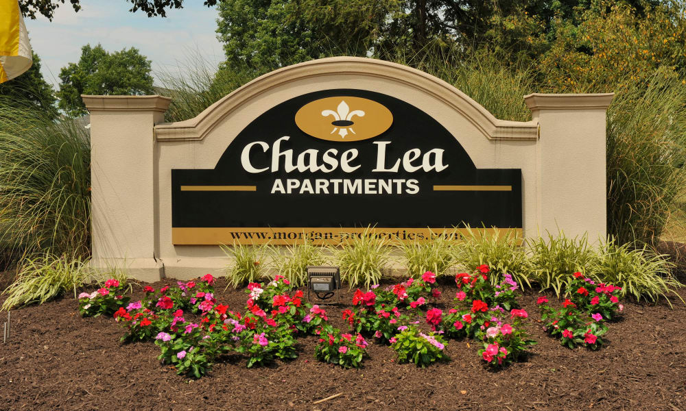 Entrance sign monument at Chase Lea Apartment Homes in Owings Mills, MD