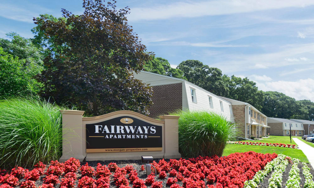 Entrance sign monument at The Fairways Apartment Homes in Blackwood, NJ