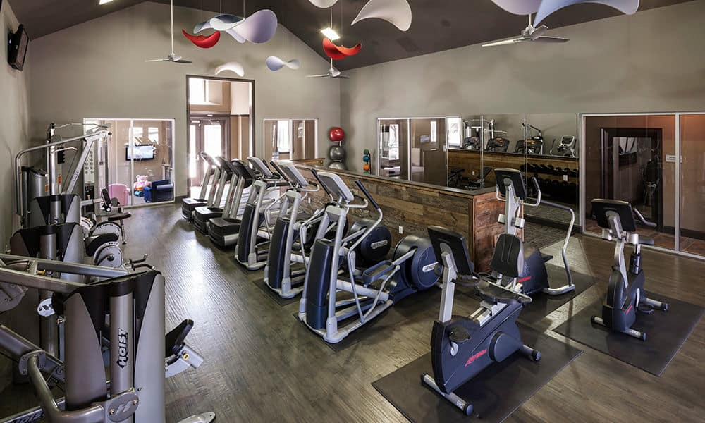 Gym at Hyde Park at Montfort in Dallas