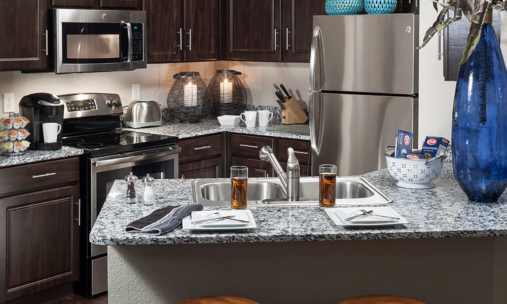 Kitchen island at Hyde Park at Montfort in Dallas