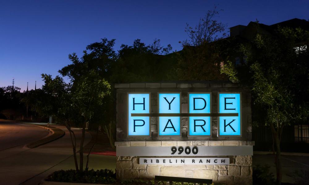 Front sign at Hyde Park at Ribelin Ranch in Austin