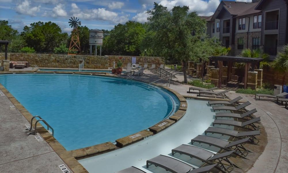 Poolside seating at Hyde Park at Ribelin Ranch in Austin