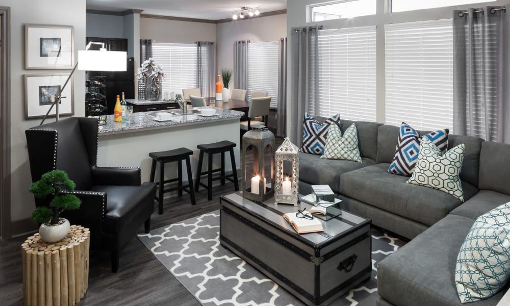 Living room and kitchen at Tintara at Canyon Creek in Austin