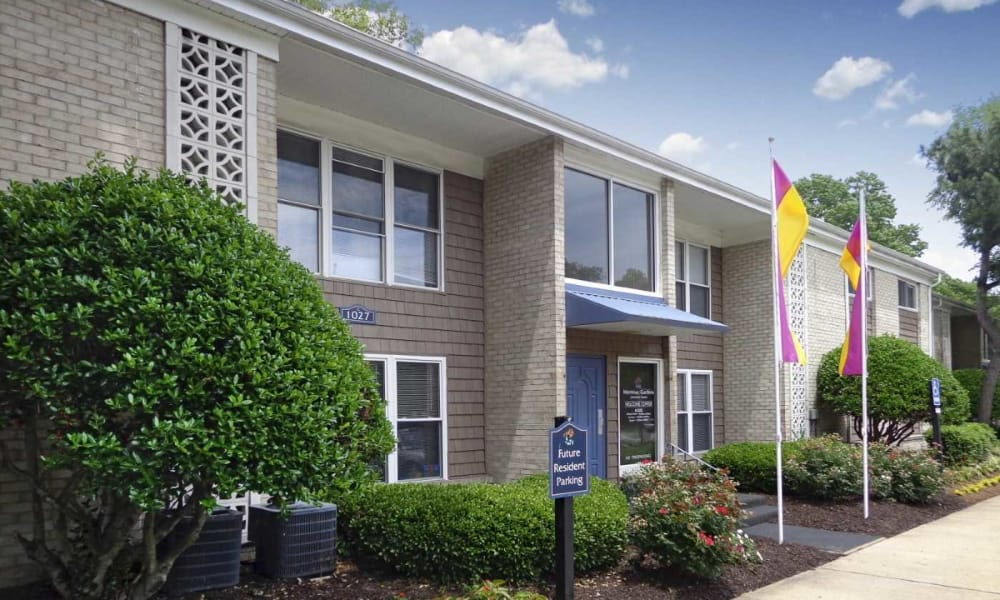 Flags in front of Residences at Crawford Farms in Portsmouth, Virginia