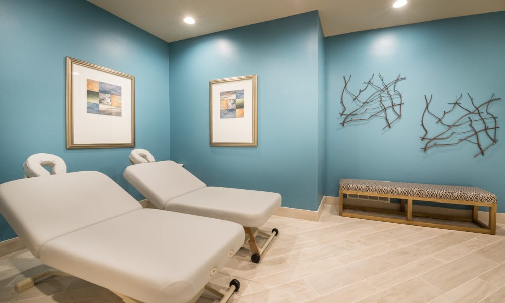 Massage tables at Bella Vida Estates in Plano, Texas