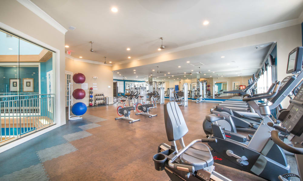 Stationary bikes at Bella Vida Estates in Plano, Texas