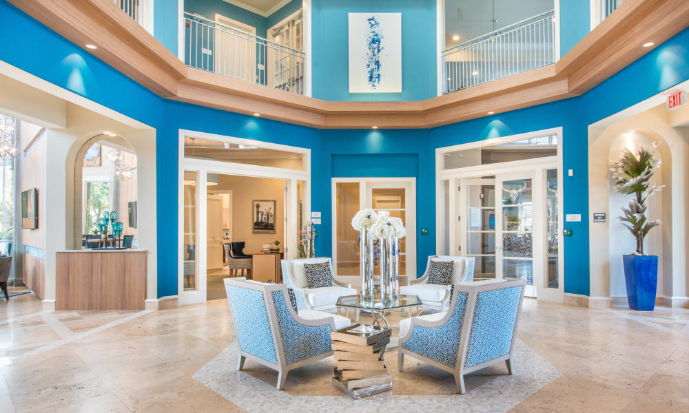 Bright lobby area at Bella Vida Estates in Plano, Texas