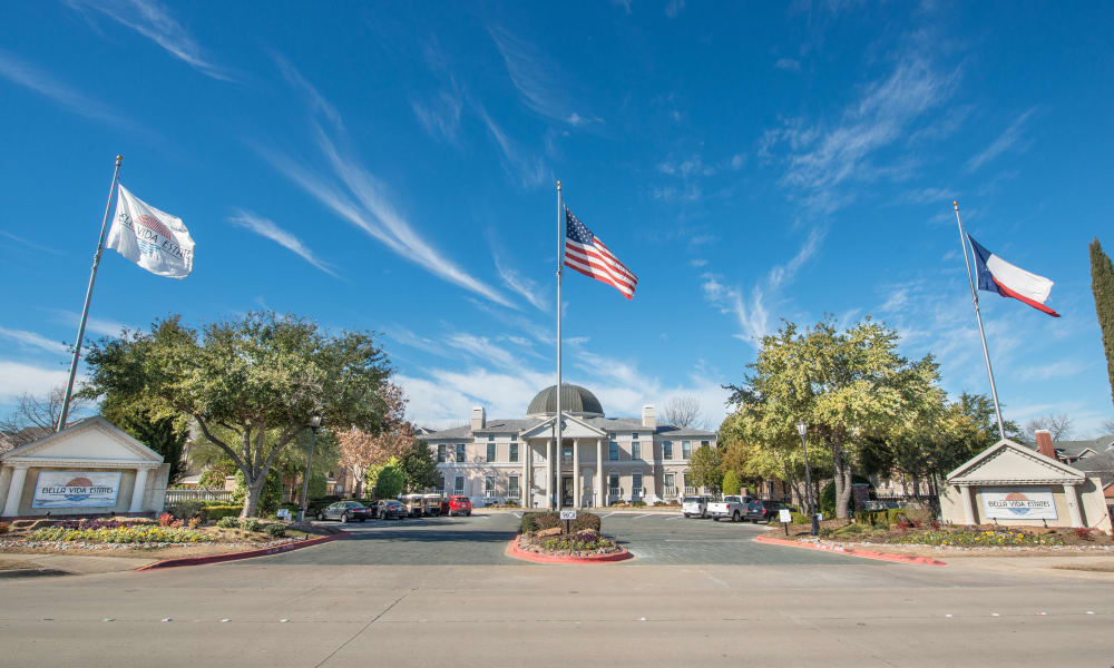 Flags in front of Bella Vida Estates in Plano, Texas