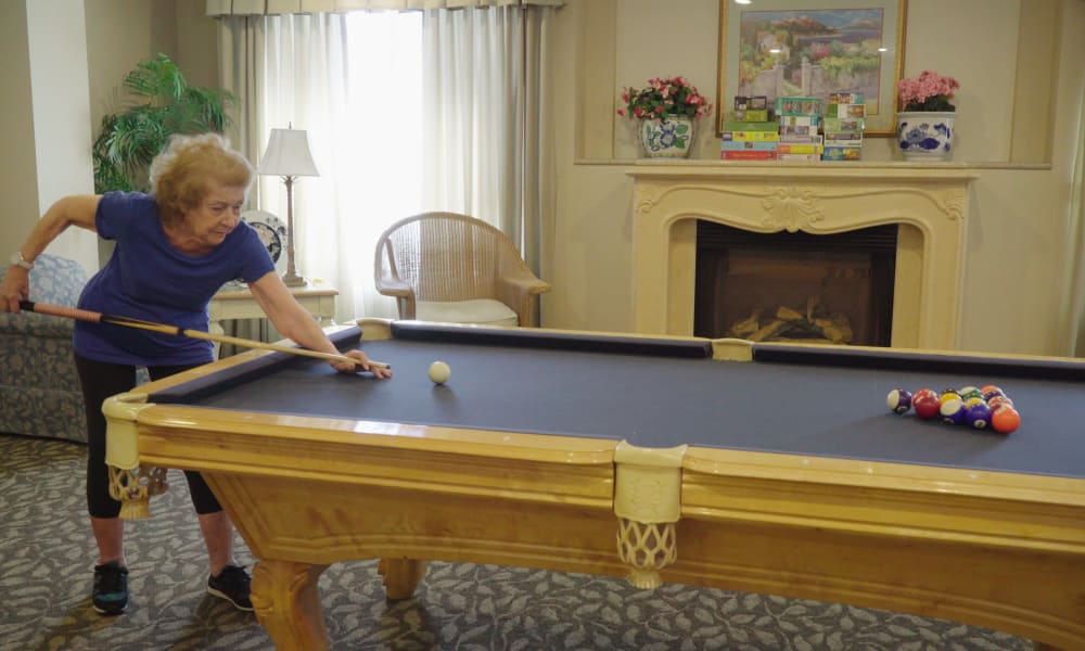 Billiards table in the The Fair Oaks in Pasadena, California activity center