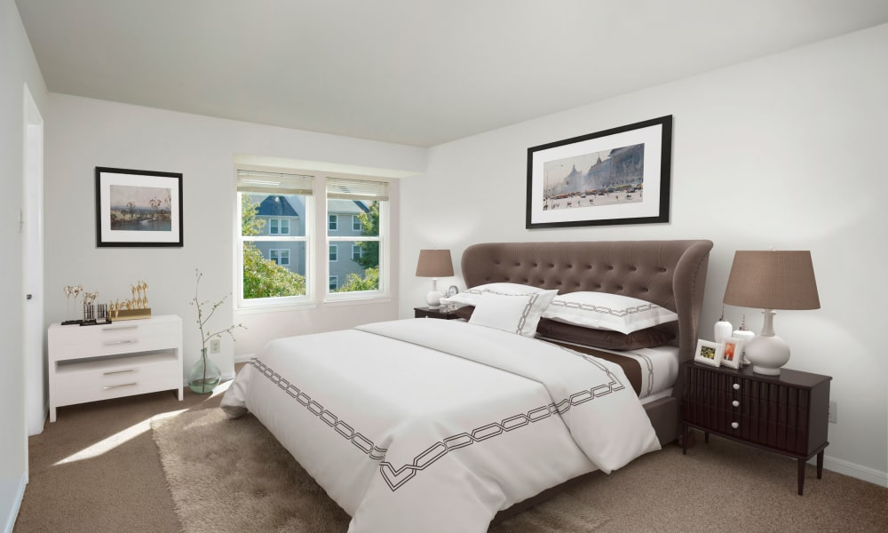 Modern bedroom at Gateway Village Apartments in Jessup, Maryland