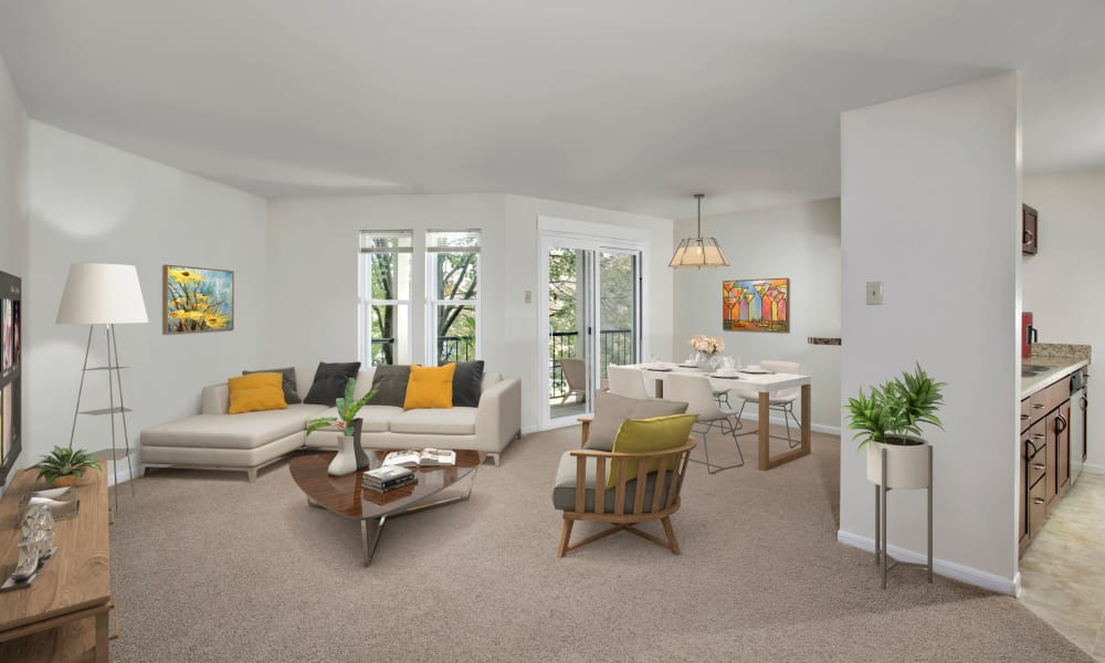 Spacious living room at Gateway Village Apartments in Jessup, Maryland