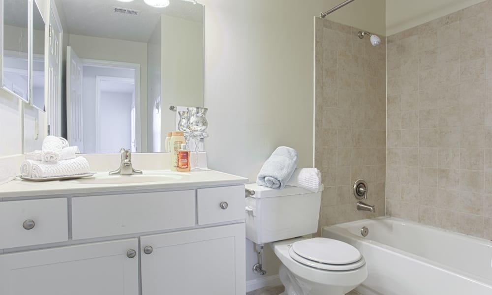 Ample bathroom space at Gateway Village Apartments in Jessup, Maryland