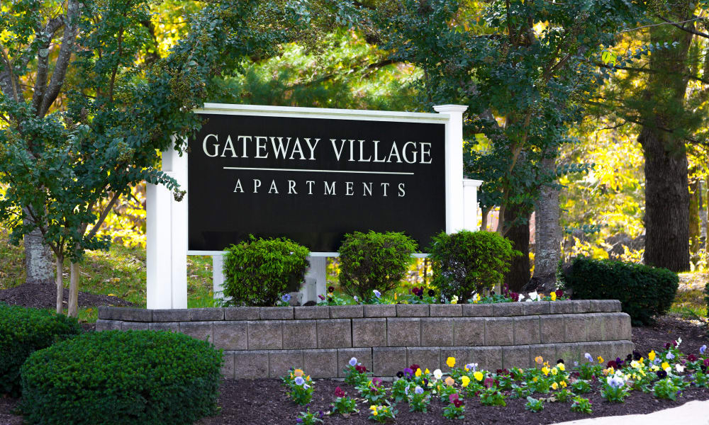 Monument sign at Gateway Village Apartments in Jessup, Maryland