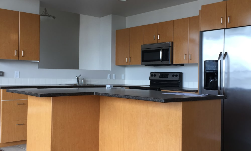 Kitchen view at Calgary Place Apartments in Calgary