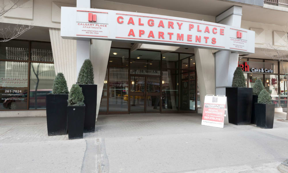 Building entrance at Calgary Place Apartments in Calgary