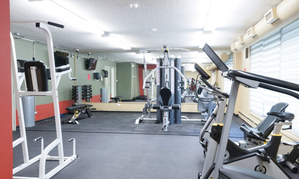 Enjoy a well-equipped fitness center at Calgary Place Apartments